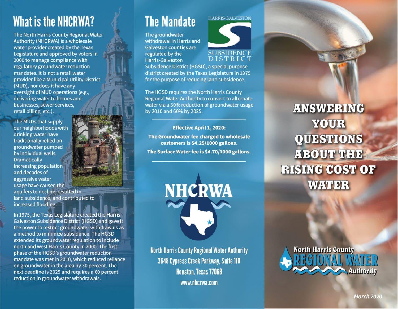 NHCRWA Rising Cost of Water Brochure 2020