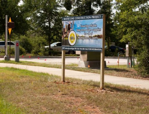 SJRA Water line construction signs in The Woodlands, Texas